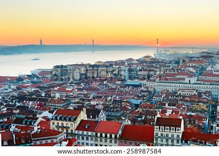 Lisbon skyline in the beautiful sunset. Portugal - stock photo