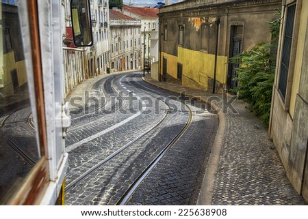Lisbon view from famous Tram, HDR - stock photo