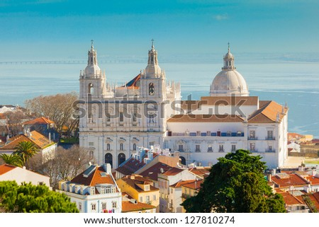 Lisbon, view with the monastery of S. Vicente de Fora - stock photo