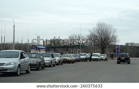 "LISICHANSK, UKRAINE - March 12, 2015: Checkpoint in Lisichansk In the summer of 2014 in the area Lisichansk fierce fighting with pro-Russian separatist formation of ""Ghost"", headed by Alexei Mozgovoy."