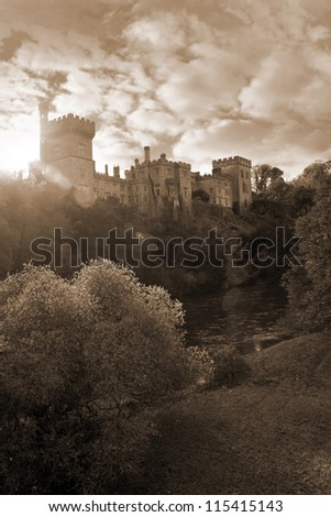 Lismore castle over looking the beautiful blackwater river in county Waterford Ireland at sunset