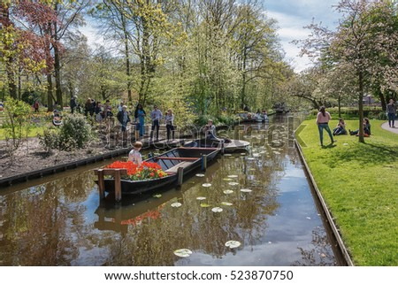 Lisse, Netherlands - May 4, 2015:  Visitors to Keukenhof, the largest flower show in the world