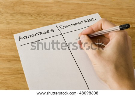 List Of Advantages And Disadvantages - stock photo