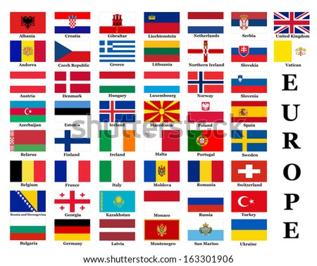 List All European Country Flags Stock Illustration 163301906 ...