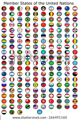 List of countries in the United Nations, national flags set on a clock face, so you can set the time you want.