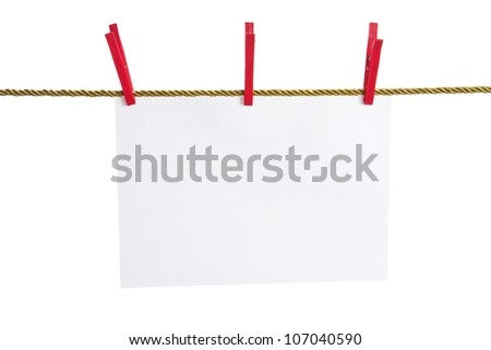 List of paper on a gold rope attached by red  clothes pins isolated on white background