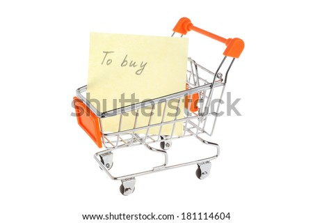 List of purchases in shopping cart isolated on white background - stock photo