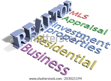 List of realtor provided real estate business selling buying business services - stock photo