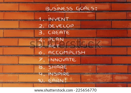 list of steps and goals for business success - stock photo