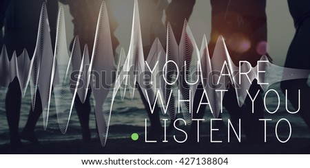 Listen Listening Music Sound Song Stylish Audio Concept - stock photo