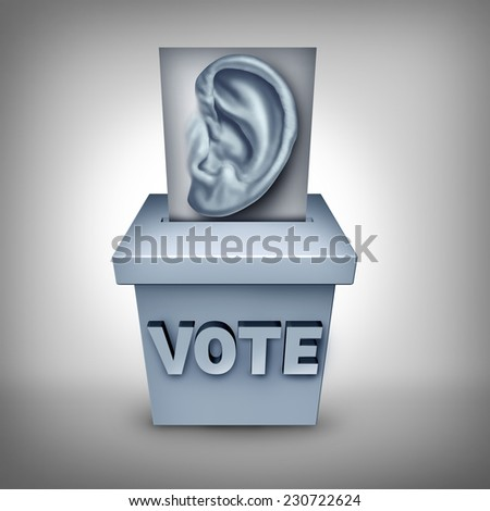 Listen to voters concept and listening to the electorate as a ballot with a human ear cast in a vote box as an icon for paying attention to the election social  and economic issues as a strategy. - stock photo