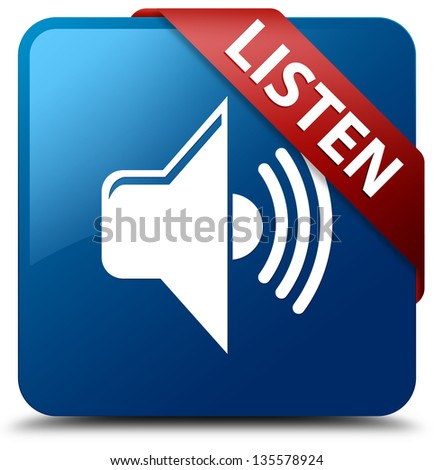 Listen (Volume icon) glassy red ribbon on glossy blue square button - stock photo