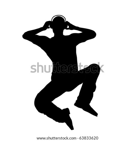 Listening to headphone man silhouette illustration - stock photo