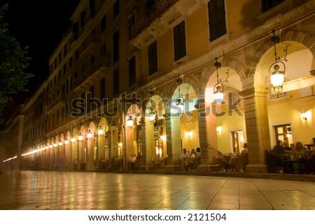 Liston street at night on Corfu island, Greece - stock photo