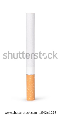 lit cigarette on a white background - stock photo