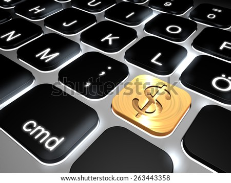 Lit keyboard with special dollar sign key, 3d rendering  - stock photo