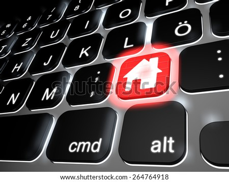 Lit keyboard with special red home key, 3d rendering - stock photo