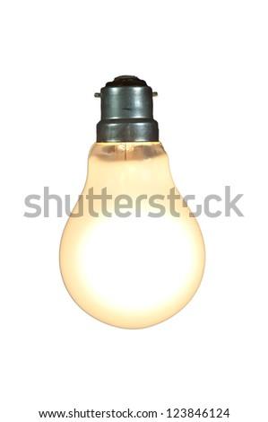 lit lightbulb on white - stock photo