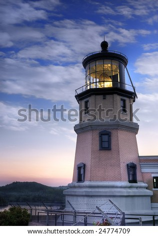 Lit Split Rock Lighthouse and Sunset - Commemorative lighting of historic lighthouse in Two Harbors & Lit Split Rock Lighthouse Sunset Commemorative Stock Photo (Edit Now ...