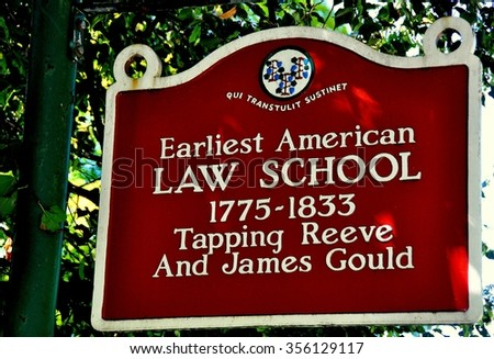 Litchfield, Connecticut - September 15, 2014:  Sign at the historic 1775-1833 Tapping Reeve and James Gould Law School *
