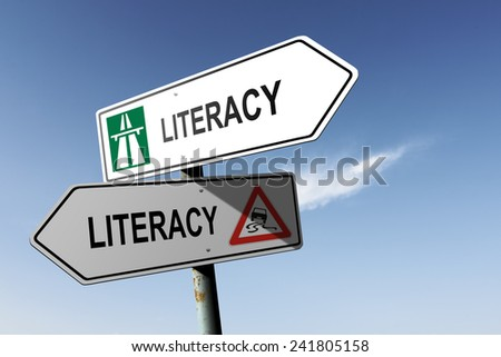 Literacy directions. Choice for easy way or hard way. - stock photo