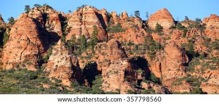 Lithified desert sand dune deposits of the Navajo Sandstone formation, Zion National Park, Utah, USA - stock photo