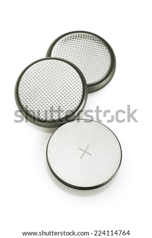 Lithium Batteries On White Background