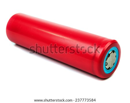 Lithium-Ion Battery is isolated on a white background - stock photo