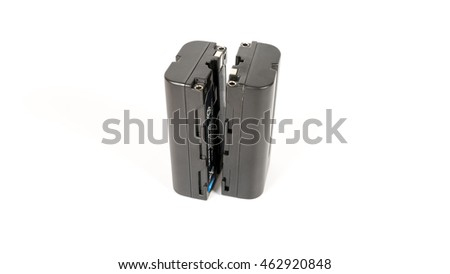 Lithium Ion battery or rechargeable battery. Isolated on white background. Slightly de-focused and close-up shot. Copy space.