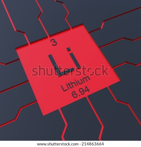 Lithium symbol - element from the periodic table - stock photo