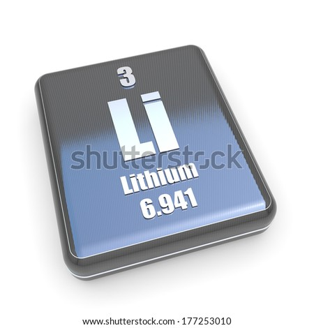 Lithium symbol from periodic table on a black box - stock photo