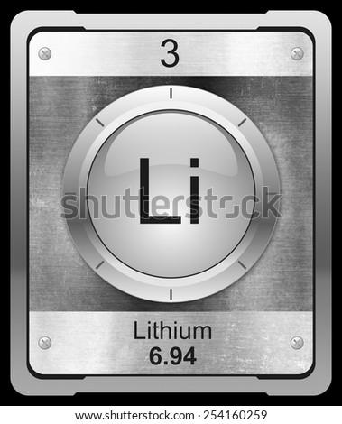 Lithium Symbol Periodic Table On Metallic Stock Illustration
