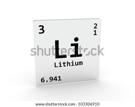 Lithium symbol - Li - element of the periodic table - stock photo