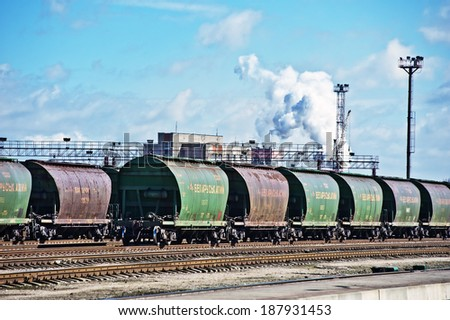 LITHUANIA - APRIL 14: Wagon train wagon with fertilizers from Belarus on April, 2014 in Lithuania.