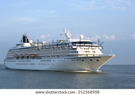 LITHUANIA- AUG 05:cruise liner CRYSTAL SYMPHONY in the Baltic sea on August 05,2012 in Lithuania. - stock photo