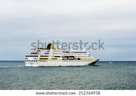 LITHUANIA- AUG 13:cruise liner HAMBURG in the Baltic sea on August 13,2012 in Lithuania. - stock photo