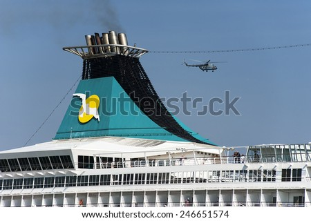 LITHUANIA- AUG 07:cruise liner on August 07,2013 in Lithuania. - stock photo