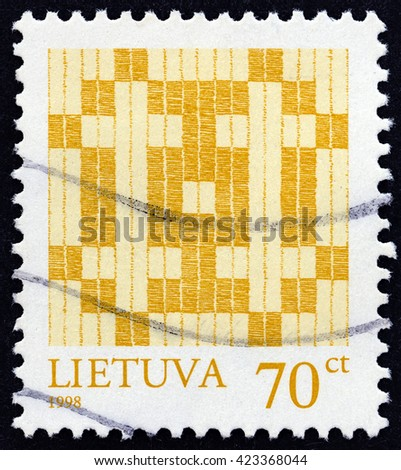 LITHUANIA - CIRCA 1998: A stamp printed in Lithuania shows Double Cross, circa 1998.  - stock photo