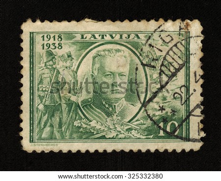 LITHUANIA- CIRCA 1938: stamp printed by Lithuania shows The 20th Anniversary of the Republic of Lithuania 1918-1938, J Sternbergs, circa 1938 - stock photo