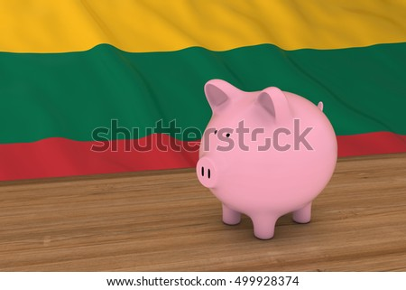 Lithuania Finance Concept - Piggybank in front of Lithuanian Flag 3D Illustration