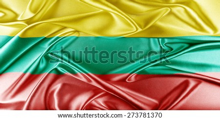Lithuania Flag. Flag with a beautiful glossy silk texture. - stock photo