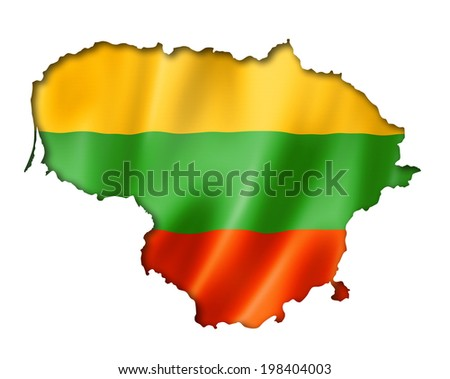 Lithuania flag map, three dimensional render, isolated on white