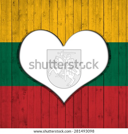 Lithuania flag of wood,heart and wood background - stock photo
