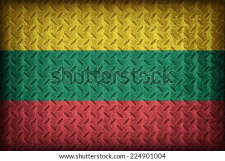 Lithuania flag pattern on the diamond metal plate texture ,vintage style - stock photo