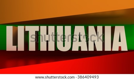 Lithuania flags design concept. 3d shapes and country name. Image relative to travel and politic themes
