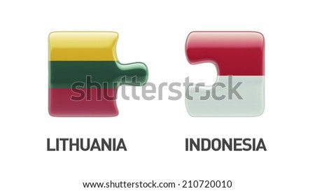 Lithuania Indonesia High Resolution Puzzle Concept