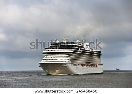LITHUANIA-JUL 16:Cruise liner in the baltic sea on July 16,2014 in Lithuania.MS Marina- Oceania-class cruise ship, constructed in Italy for Oceania Cruises. - stock photo