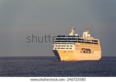LITHUANIA- JULY 06 cruise liner in the Baltic sea on July 06,2012 in Lithuania.Ocean Princess, formerly R Four, and Tahitian Princess, is an R-class cruise ship owned by Princess Cruises.  - stock photo