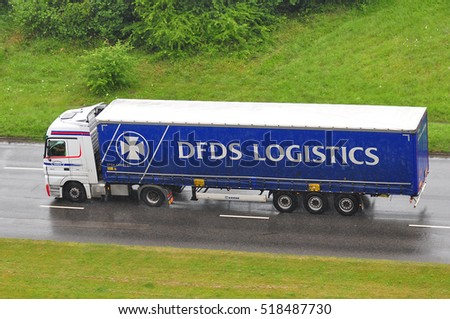 LITHUANIA-JULY11:DFDS truck on the route on July 11,2016 in Lithuania.