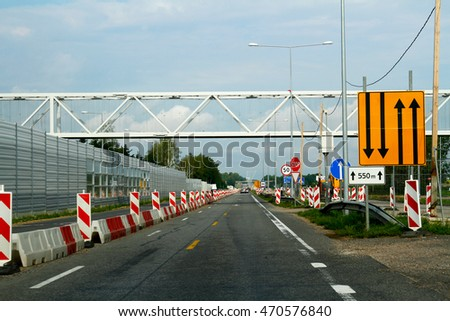 Lithuania - July 31, 2016: Road work in Lithuania